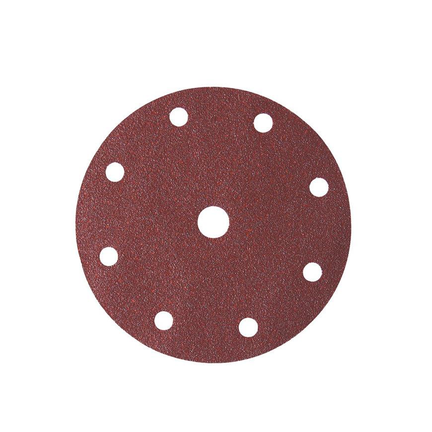 Promat schuurpad, met 8-1 gaten, klitbevestiging, 150 mm, korrel 180, korund, voor hout/metaal