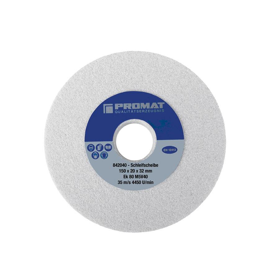 Promat slijpmachineschijf, aluminiumoxide, d = 125 mm, b = 20 mm, gat = 32 mm, fijn 80, vorm A