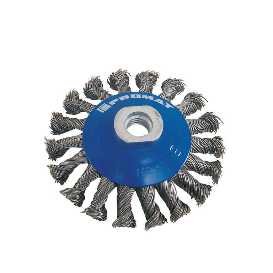 Promat rondborstel, staal, d = 100 mm, M14, draad 0,5 mm, staaldraad, max. 12500 omw/min