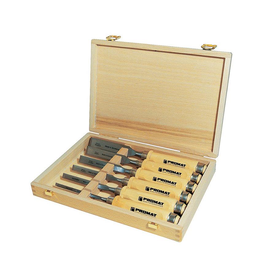 Promat steekbeitelset, 6-delig, houten kist, wit beukenhouten heft, 6-10-12-16-20-26 mm