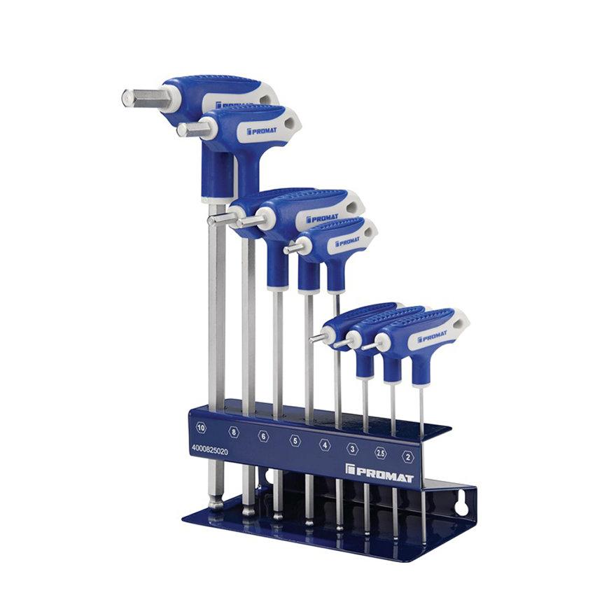 Promat inbussleutelset met dwarsgreep en zijpunt, 8-delig, S2-staal, sleutelmaat 2-10 mm
