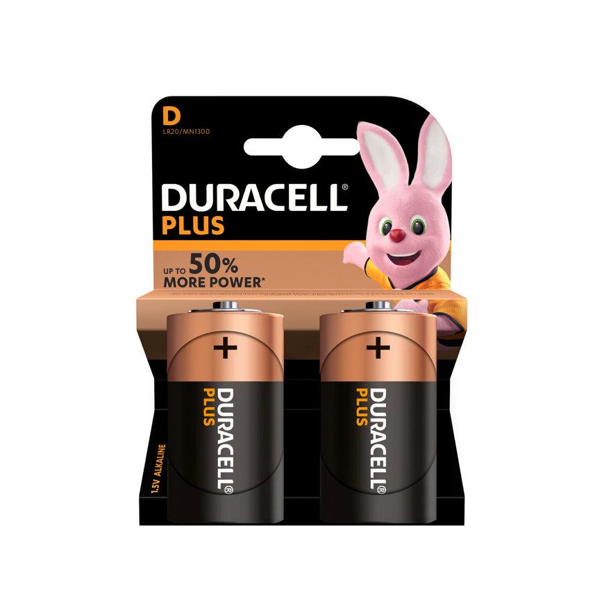 Duracell PlusPower alkaline batterij, Mono/D, blister à 2 stuks