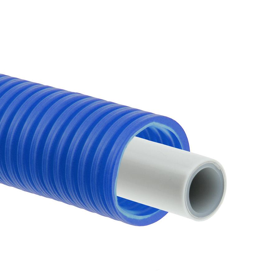 Bonfix Alu-pers systeembuis, wit, in blauwe mantelbuis, Kiwa, 16 x 2 mm, rol à 50 meter