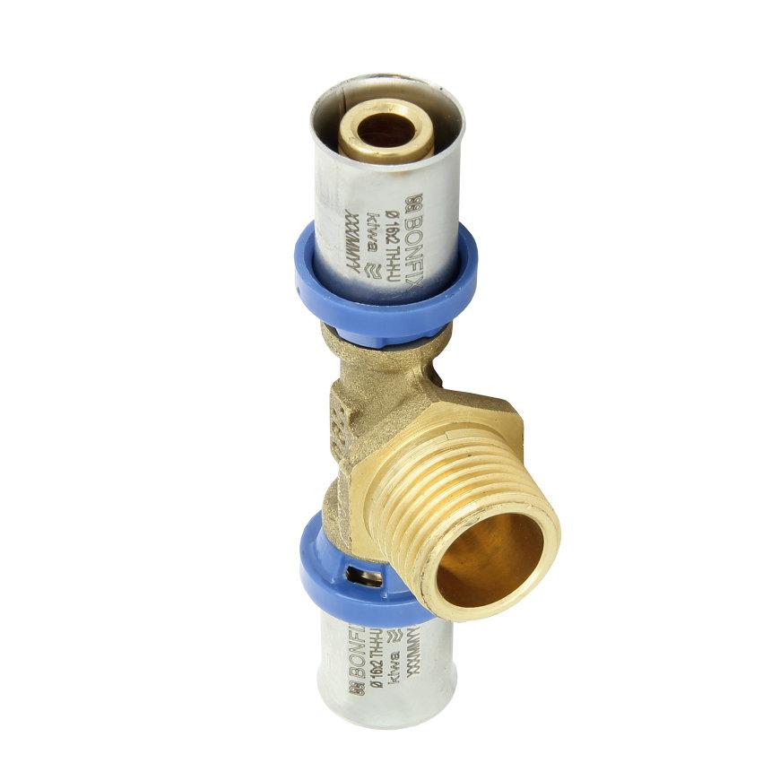 """Bonfix Alu-pers draad T-stuk 90°, Kiwa, 2x pers / 1x buitendraad, 26 x ¾"""" x 26 mm"""