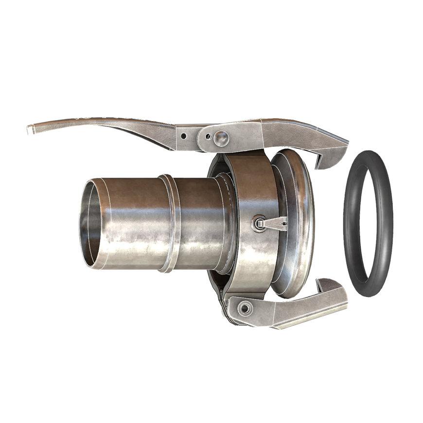 Dallai M-deel x slangtule voor platte slang, type C, verzinkt, 50 x 50 mm