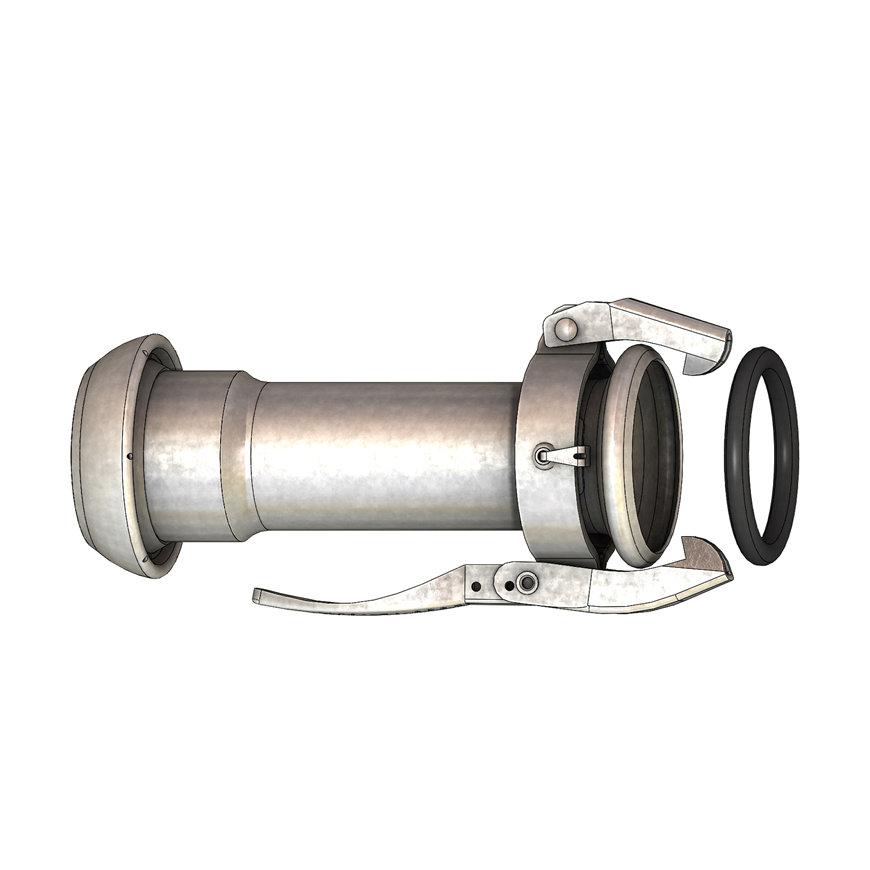 Dallai verloopstuk, M-deel x V-deel, type C, verzinkt, 89 x 108 mm