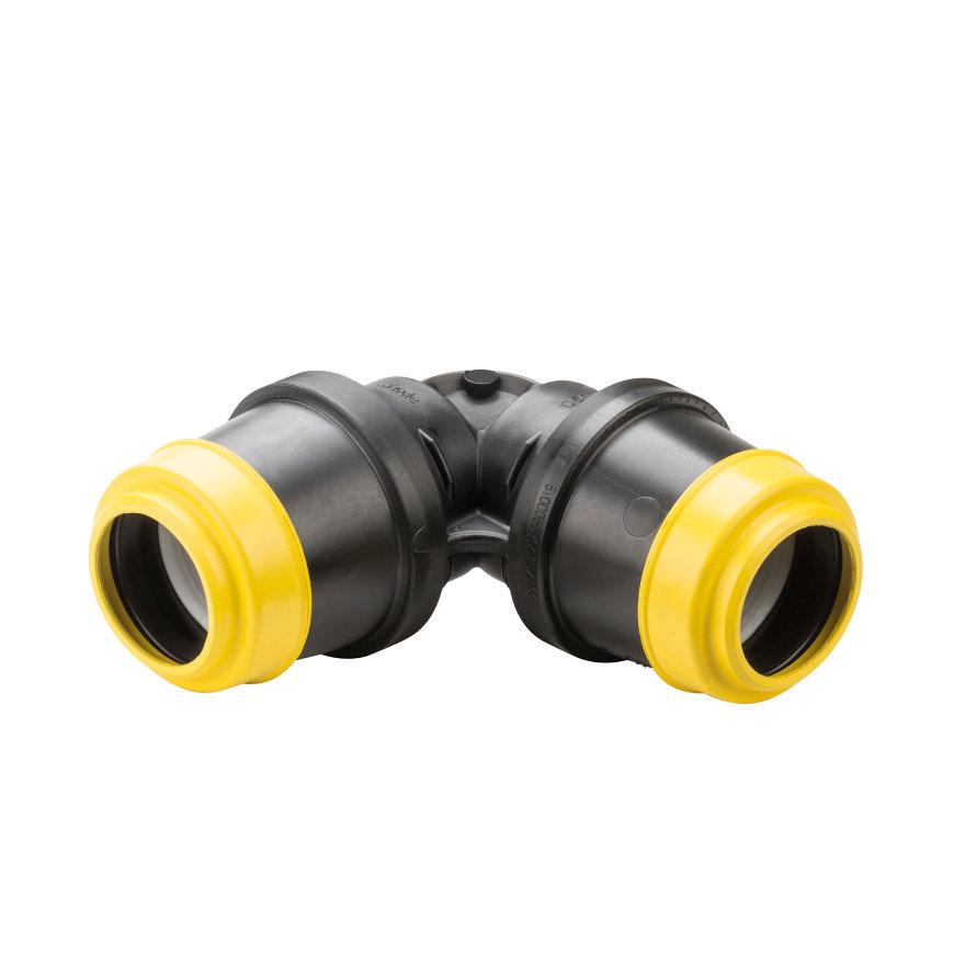 Hawle knie 90°, zwart, Gastec QA, type K6425, 2x steek, 63 mm