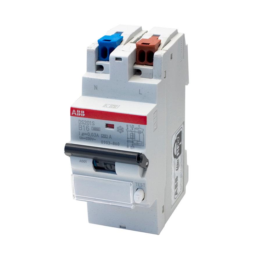 ABB hafonorm aardlekautomaat, 2-polig, 6kA, 16 A - 30 mA, B-karakteristiek, 230 V, busboard