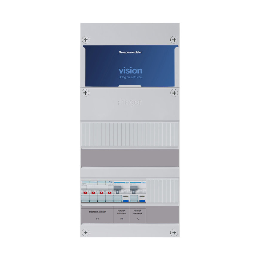 Hager groepenkast, 3-f, HS 4-p, 40A, 2 gr, 2x Alamat