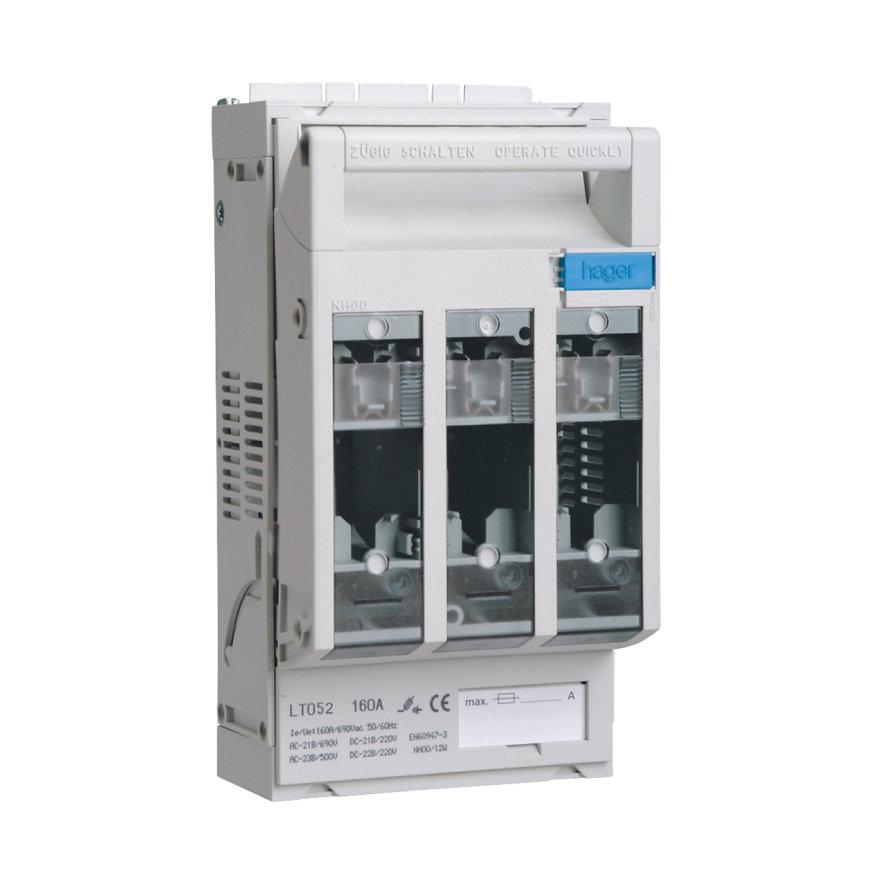 Hager mespatroonlastscheider, NH00, boutaansluitingen, 3x 160A, M8, voor montageplaat