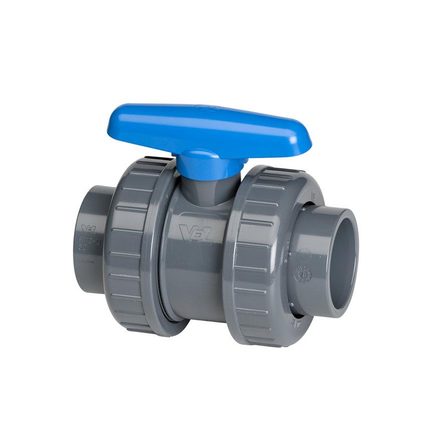 VDL PVC-Kugelhahn, 2x Innenverklebung/2x Überwurfmutter, blauer Handgriff, 16bar, EPDM, 25 mm