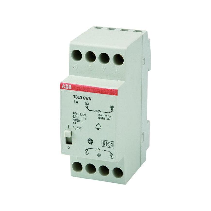 ABB hafonorm beltransformator, type 0918-004, 230 V / 8 V - 1 A