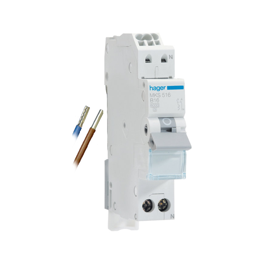 Hager uitbreidingset installatie-automaat, 1p+N, 16 A, B-karakteristiek, 6 kA