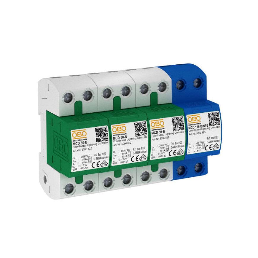 OBO combi afleider, MCD-50-B 3+1, 3-polig, 255 V, voor TT- en TNS-net