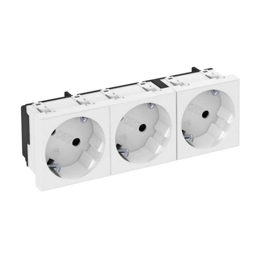 OBO wandcontactdoos, met randaarde, 3-voudig, 33°, bovenaansluiting, 250 V, 10/16A, zuiver wit