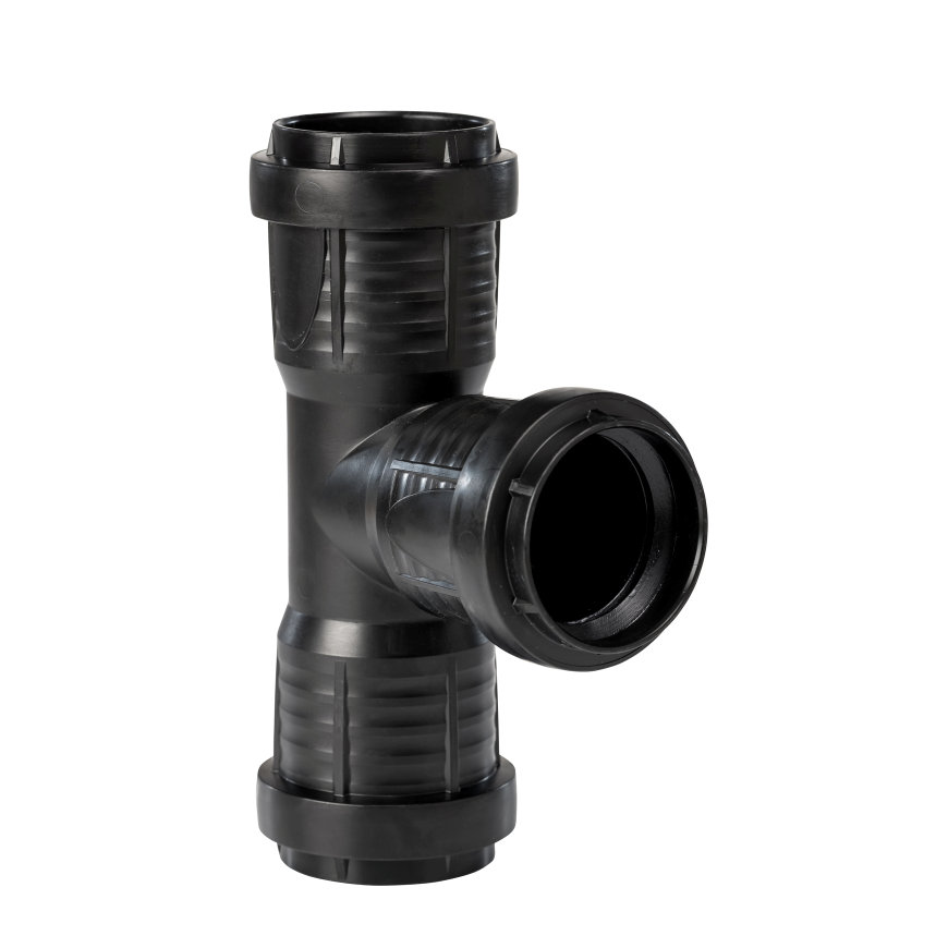 Pipelife MASTER3 PLUS Abzweig 87,5°, 3x Muffe, PP. schwarz, 40mm