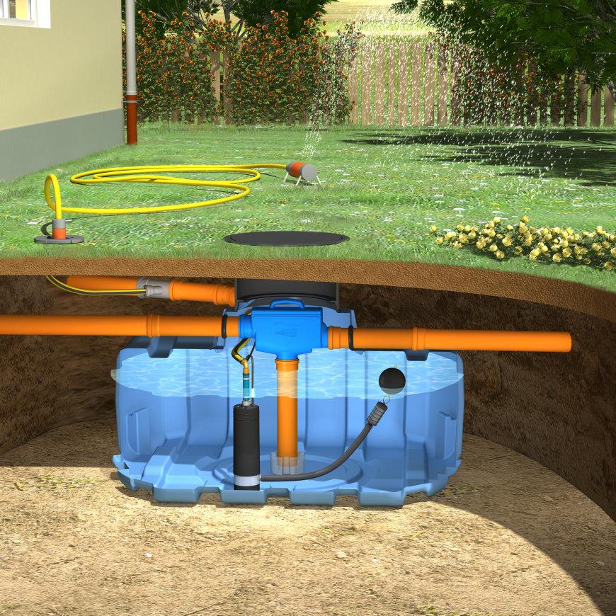 Slim Rain System Regenwassernutzung f. Gärten, Mod. Easy Rain, 1.500l, 187x150x99cm