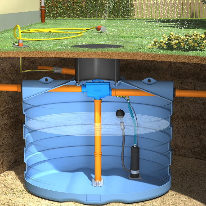 Slim Rain System Regenwassernutzung f. Gärten, Mod. DS7500, 7500l, 235x192x235cm