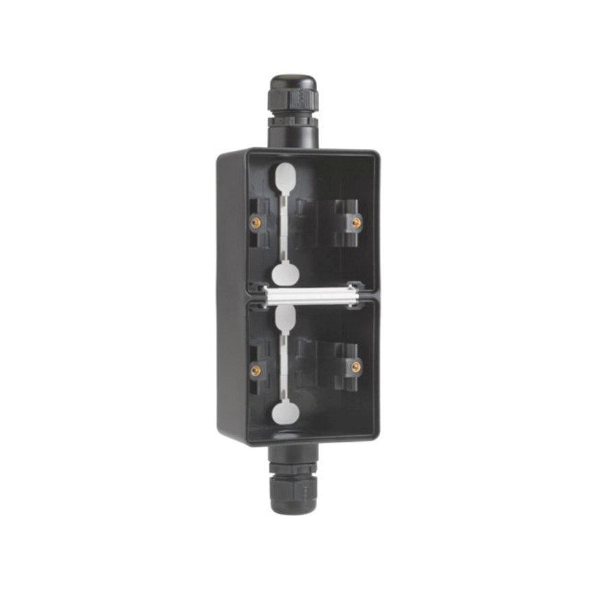 Niko New Hydro spwd opbouwdoos, verticaal, zwart, 1x M20 boveningang/1x M20 onderingang, 2-voudig