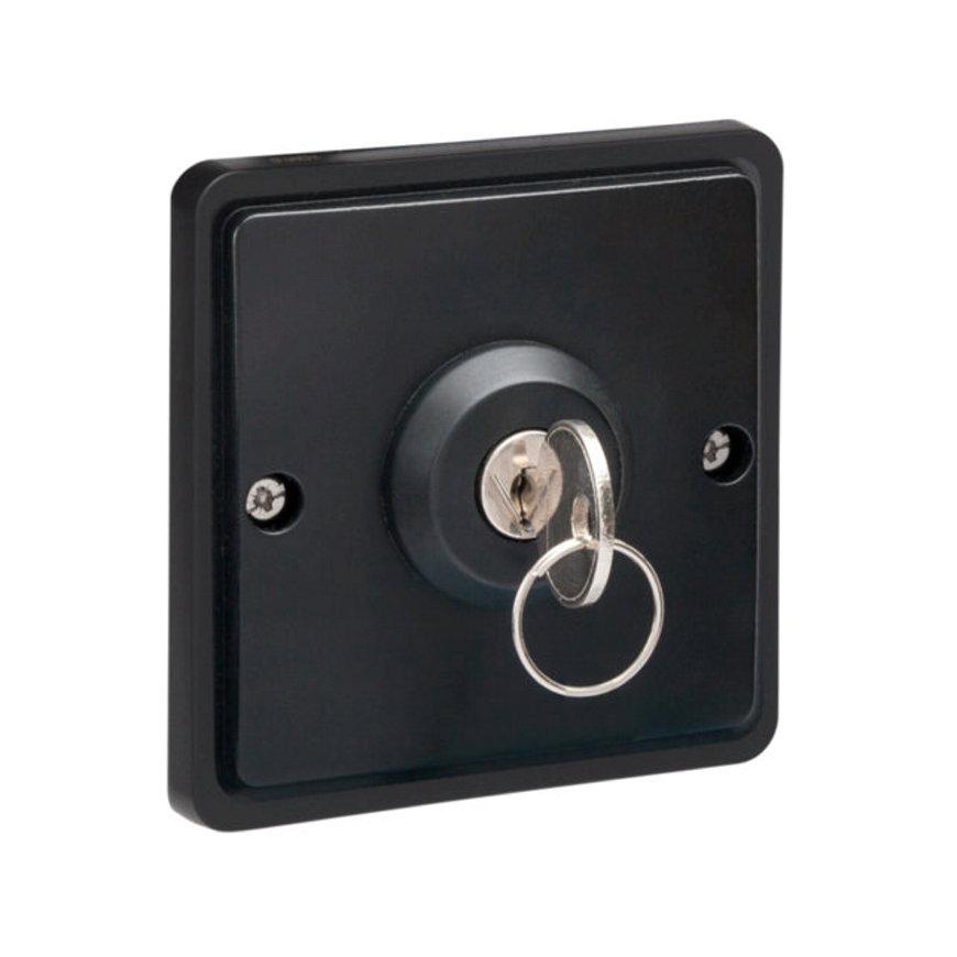 Niko New Hydro spwd sleutelschakelaar, excl opbouwdoos, zwart, 10 A/250 V, 3-standen