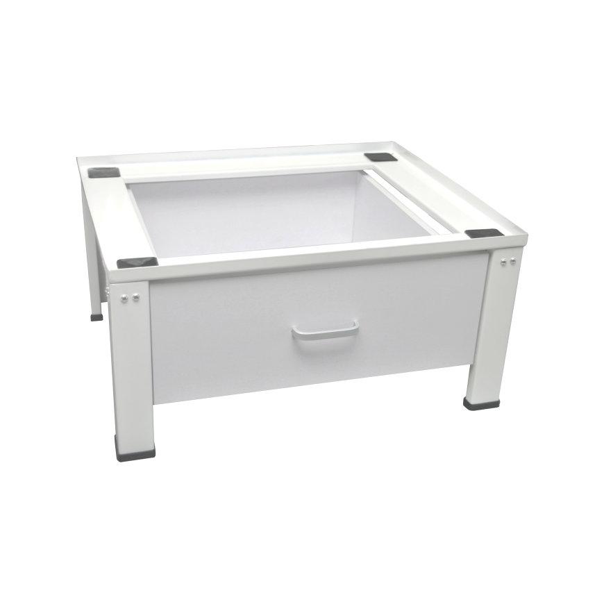 Nedco wasmachine- en drogerverhoger, met lade, staal, 610 x 550 x 300 mm, wit