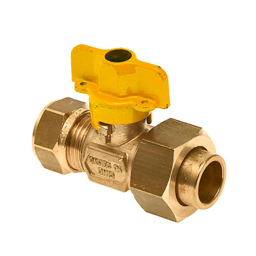 Bonfix 2-delige gaskogelkraan, messing, Gastec, knel x capillair, 15 x 15 mm