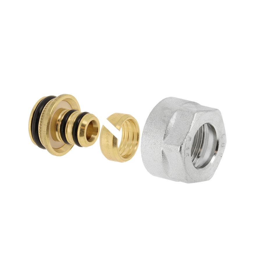 Bonfix adapter, euoconus, voor vloerverwarming, Alupex, pilaar, knelring en wartel, 14 x 2 mm