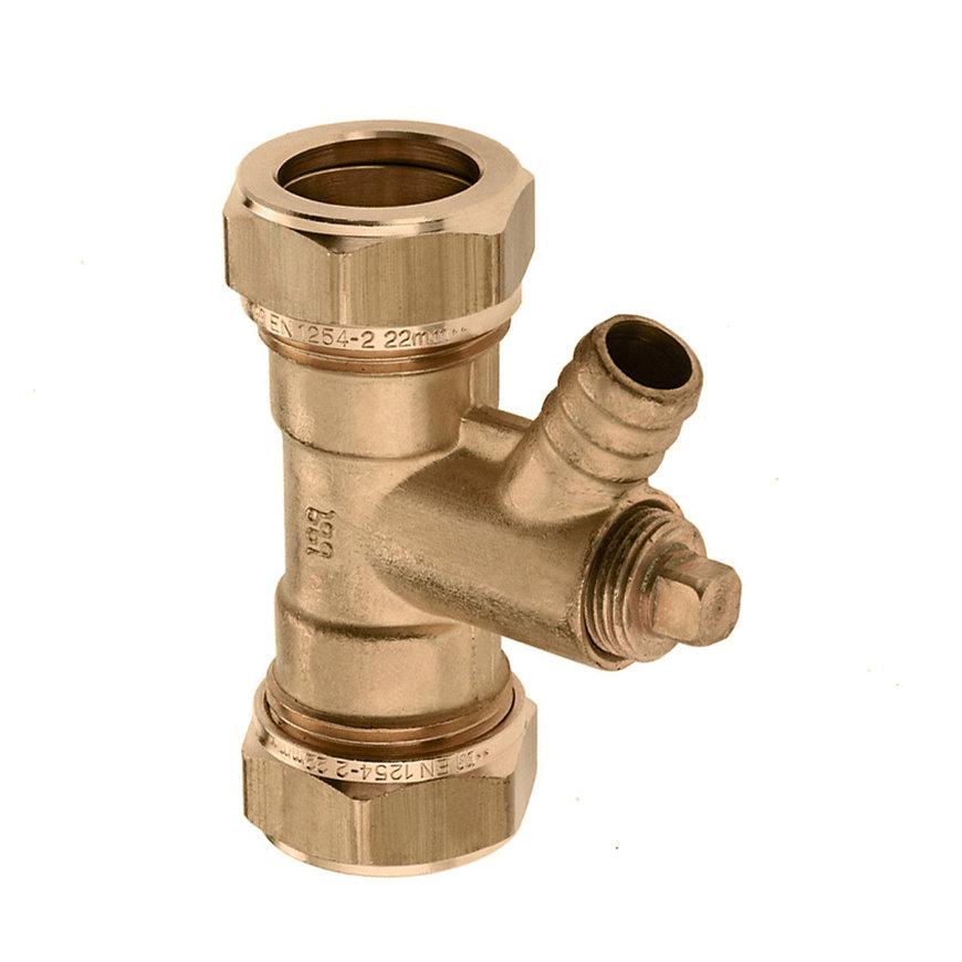 Bonfix messing knelkoppeling, recht, met aftapmogelijkheid, Kiwa ATA / Gastec QA, 2x knel, 15 mm