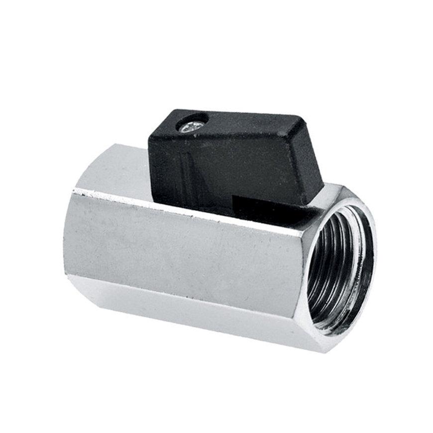"""Bonfix minikogelkraan, verchroomd, zwarte knop, 2x binnendraad, 3/8"""""""