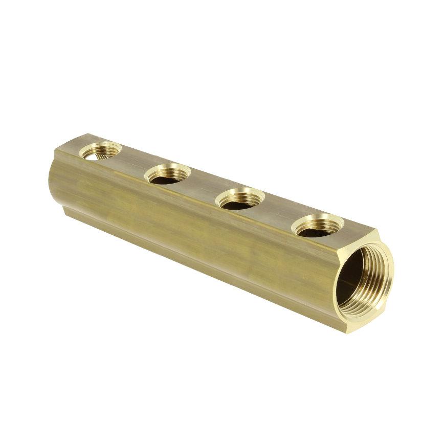 """Bonfix verdeler, zwaar, l = 50 mm, binnendraad, aansluiting 1"""", 12-groepsaansluiting ½"""""""