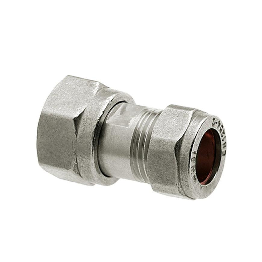 Bonfix 2-delige schroefkoppeling, vernikkeld, wartelmoer x knel, M24 x 15 mm