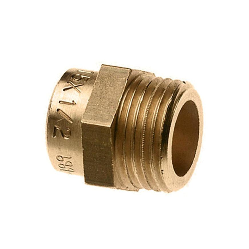 "Bonfix messing draadkoppeling, kort, buitendraad x inwendig capillair, 2"" x 54 mm"