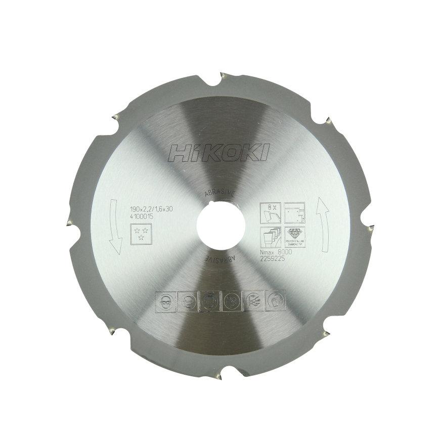 HiKOKI Proline cirkelzaagblad voor gips en cement gebonden platen, 190 x 30 mm, 8 tanden
