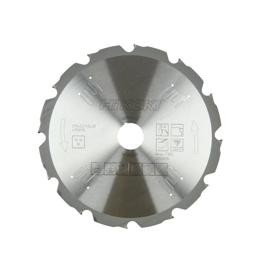 HiKOKI Proline cirkelzaagblad voor gips en cement gebonden platen, 210 x 30 mm, 12 tanden