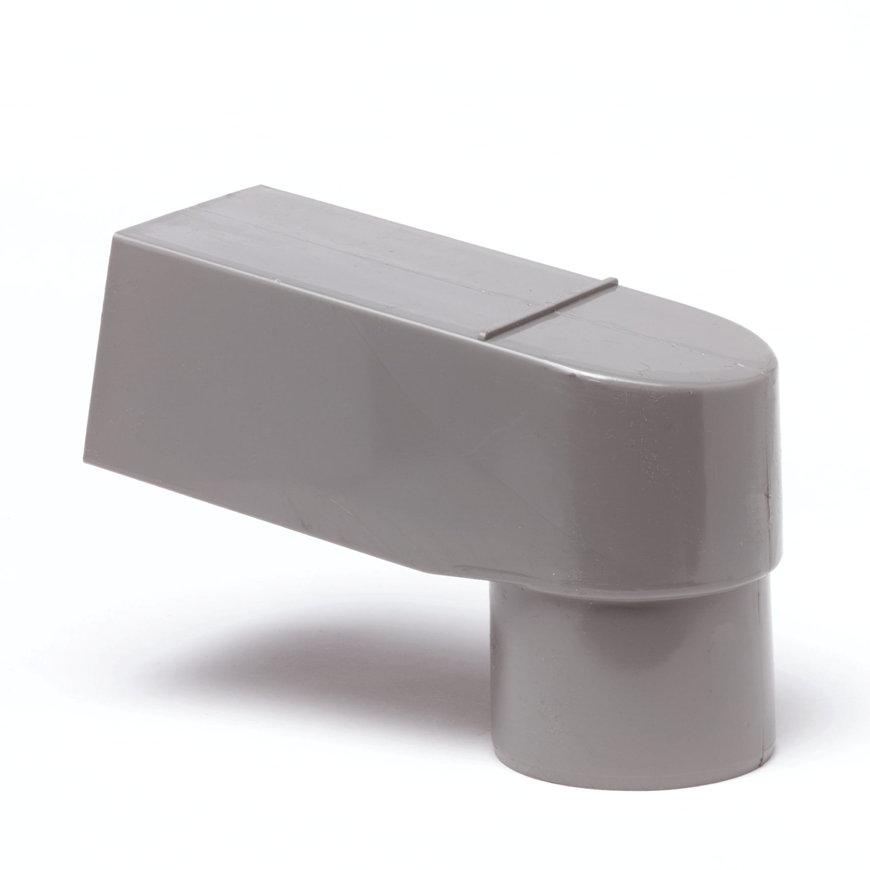 Pvc stadsuitloop, grijs, model ZZ, rechthoekig x ronde uitloop, 80-70 mm  default 870x870