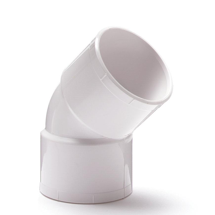 Nicoll pvc bocht 45°, 2x inwendig lijm, wit, RAL 9010, KOMO, 40 mm  default 870x870