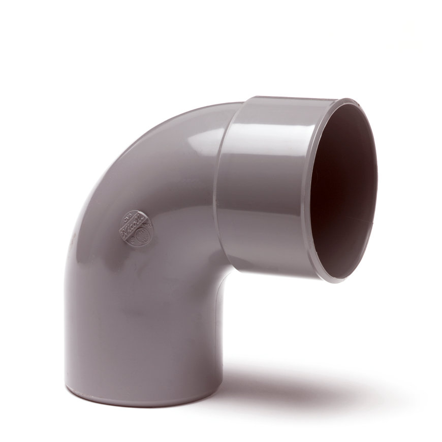 Pvc bocht 88°, inwendig x uitwendig lijm, grijs, KOMO, 75 mm