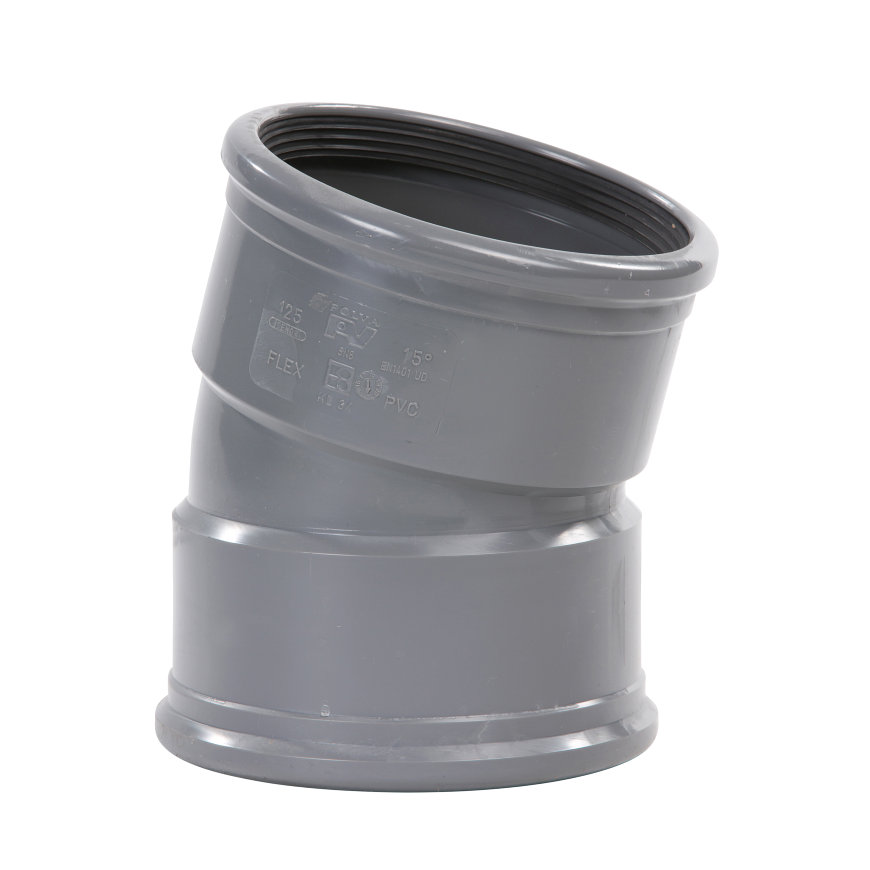 Pvc bocht 15°, 2x manchet, KOMO, SN8, 400 mm  default 870x870