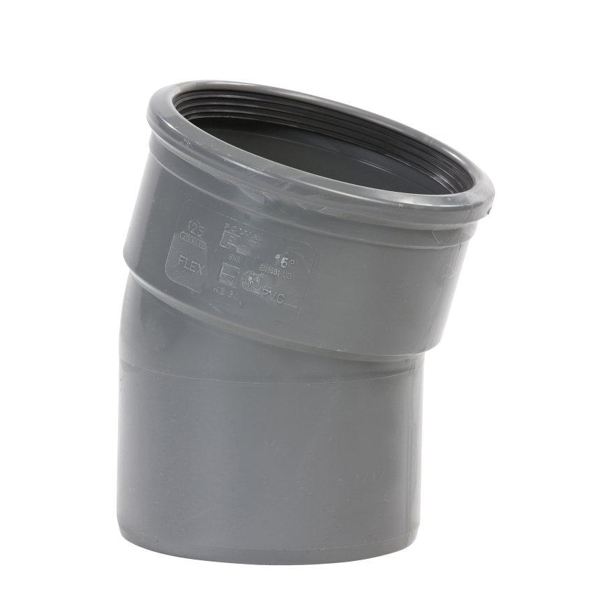Pvc bocht 15°, manchet x spie, grijs, SN8, 315 mm