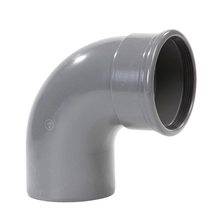 Pvc bocht 88°, manchet x spie, grijs, KOMO, SN8, 125 mm  default 870x870