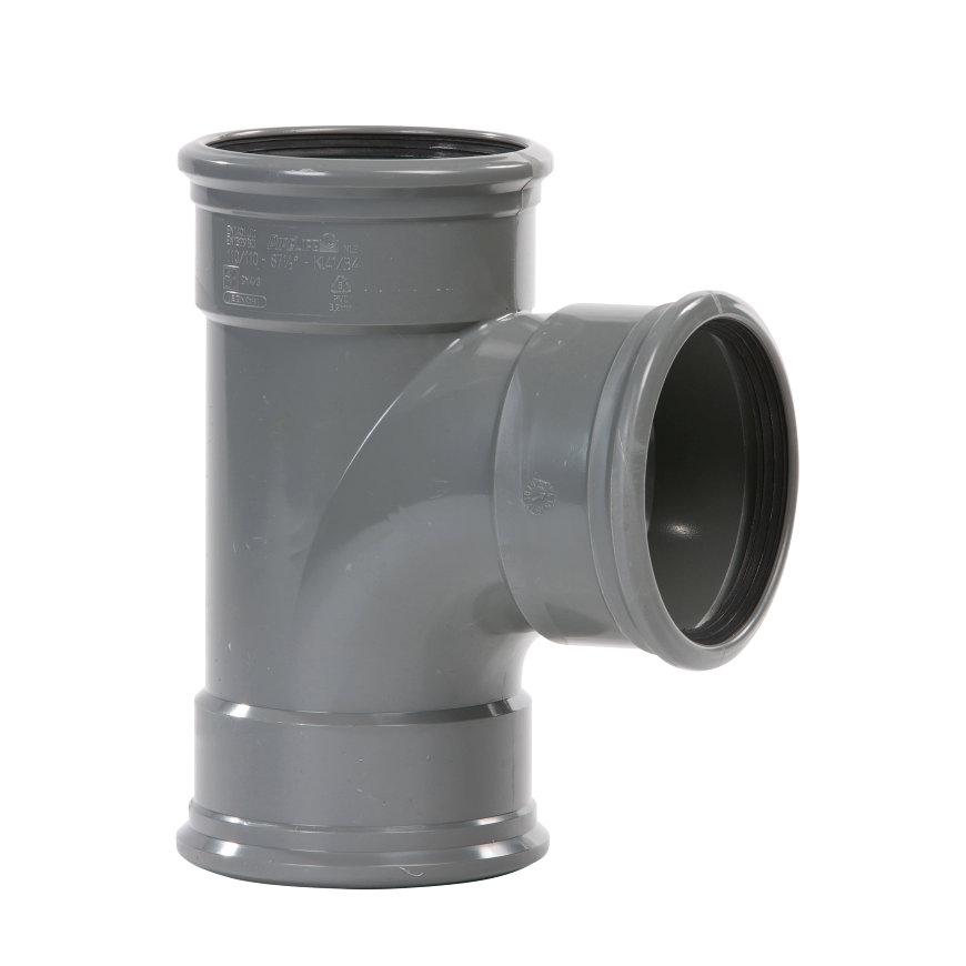 Pipelife pvc T-stuk 88°, 3x manchet, grijs, KOMO, SN4, 125 mm  default 870x870