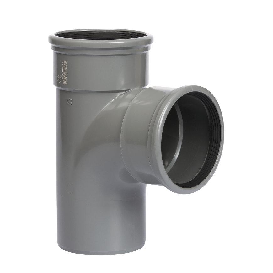 Pipelife pvc T-stuk 88°, 2x manchet/1x spie, grijs, KOMO, SN8, 110 mm  default 870x870