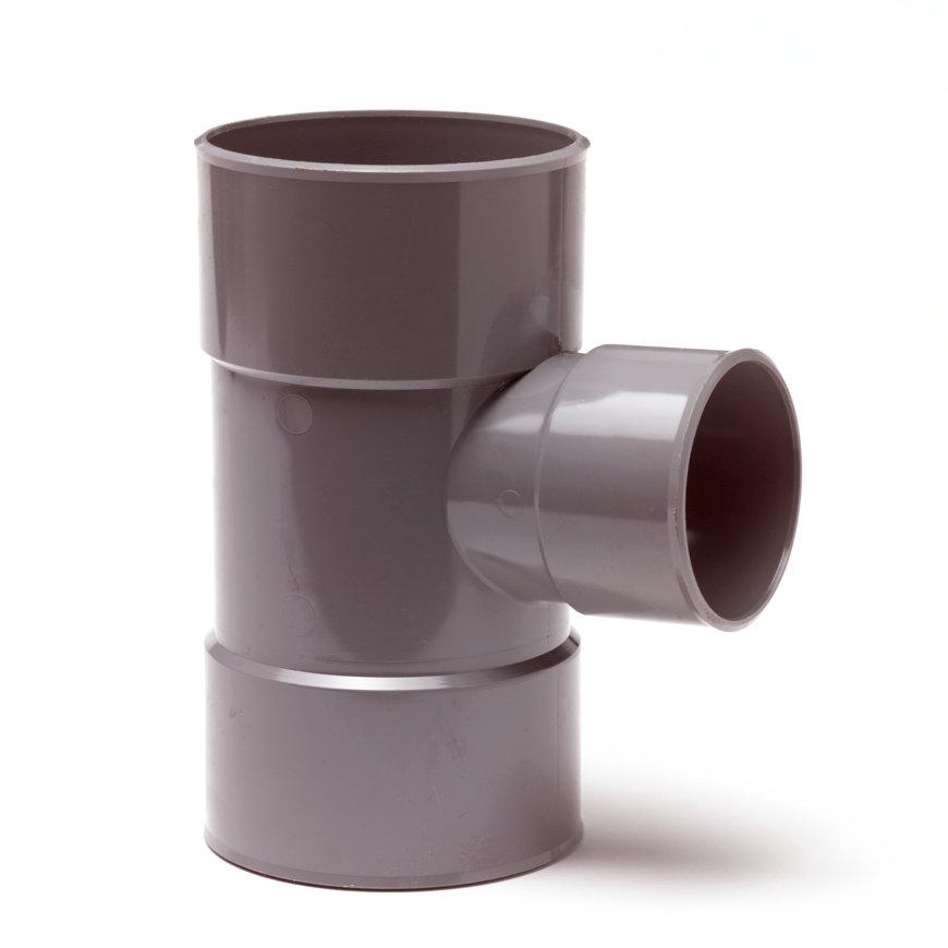 Pvc verloop T-stuk 88°, 3x inwendig lijm, grijs, KOMO, 110 x 40 mm
