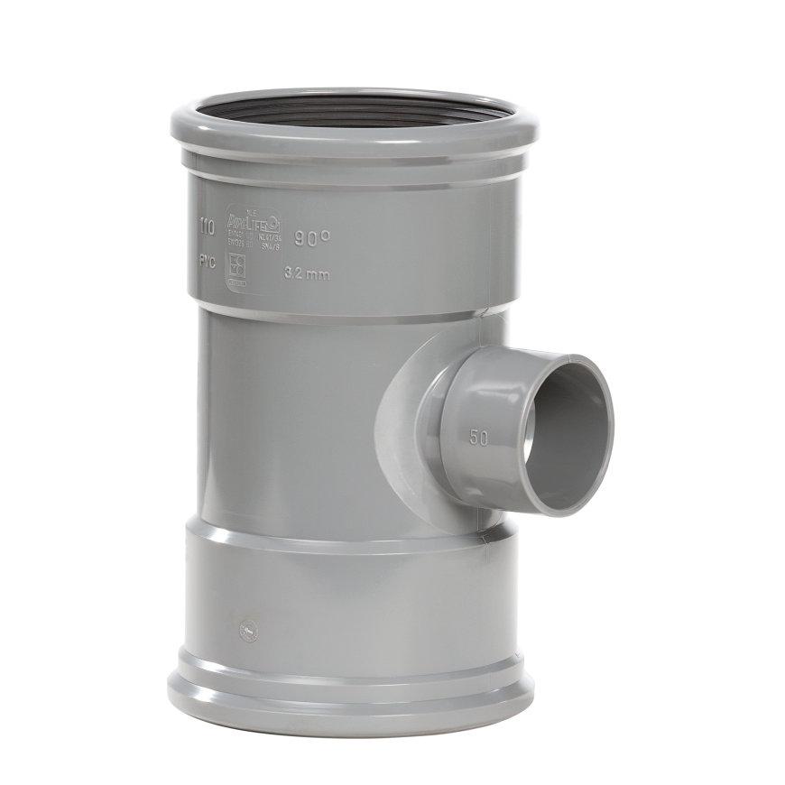 Pipelife pvc verloop T-stuk 88°, 2x manchet/1x inwendig lijm, grijs, KOMO, SN4, 125 x 50 mm