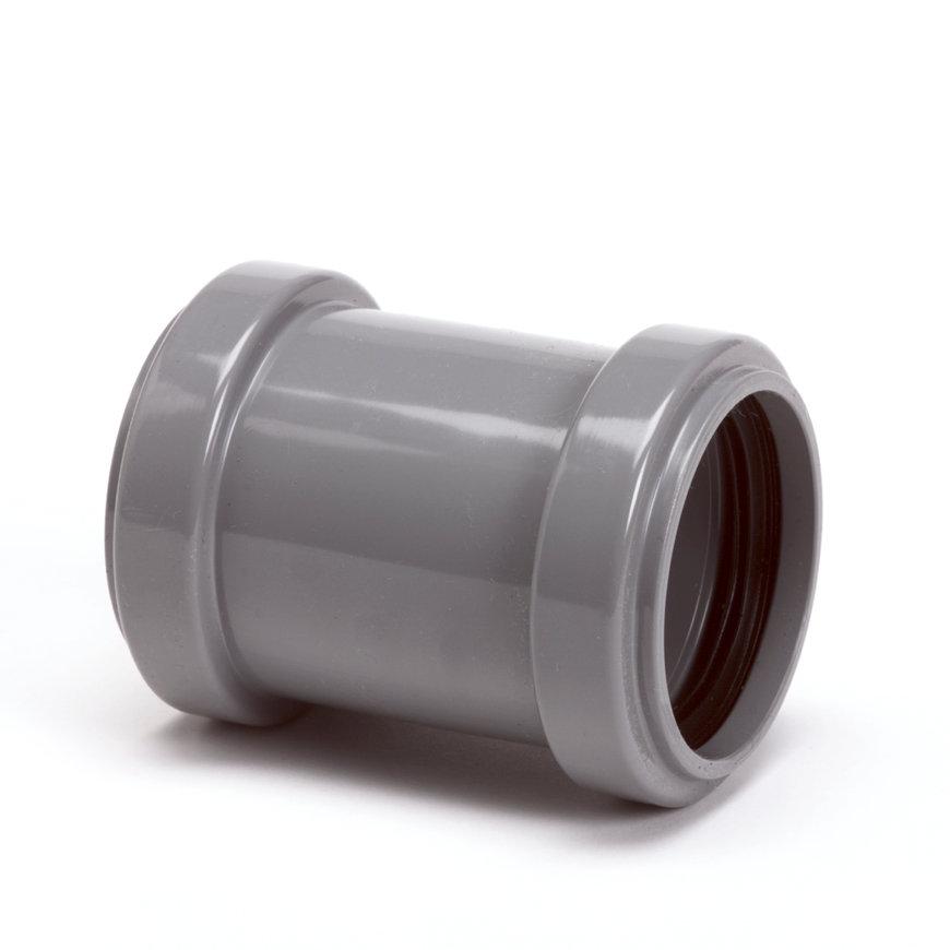 Pp overschuifmof, 2x manchet, grijs, 32 mm
