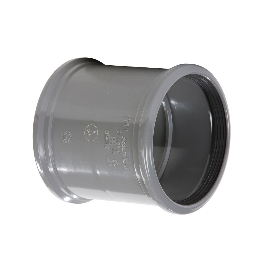 Pvc steekmof, 2x manchet, KOMO, SN8, 125 mm  default 870x870