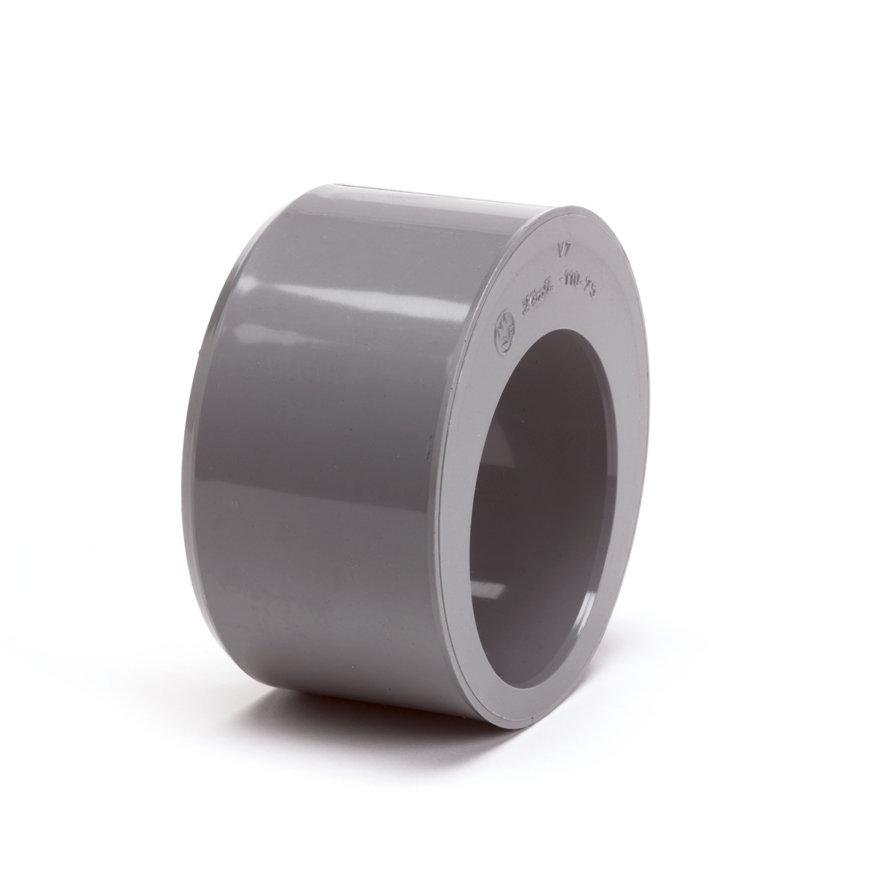 Pvc verloopring, excentrisch, uitwendig x inwendig lijm, grijs, KOMO, 125 x 50 mm