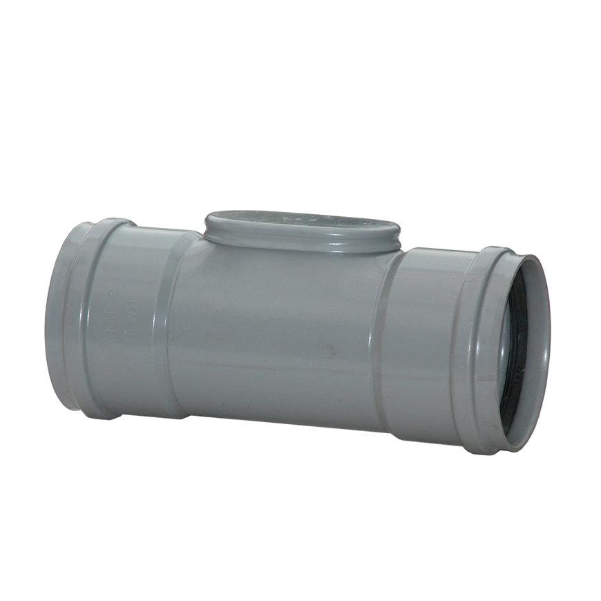 Pvc ontstoppingsstuk met klemdeksel, 2x manchet, grijs, SN4, 125 mm