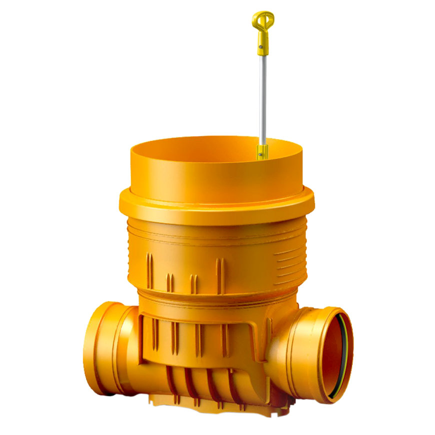 Karmat pp controleput met bedienbare rvs afsluitklep, 400 mm glad, aansluiting 160 mm