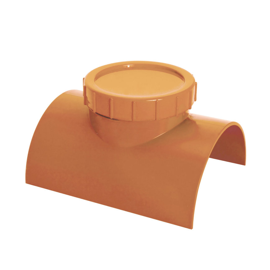 Airfit klemzadel, ontstoppingsstuk met schroefdeksel, pvc, lijmverbinding, roodbruin, 400 mm